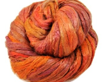 Mulberry Silk roving, hand dyed (Sunset)