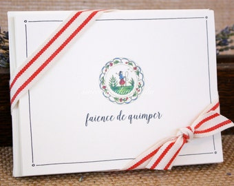 French Quimper faience folded note cards | illustrated | stationery set