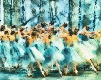 The Corps de Ballet:  A Dance Ballet Mixed Media Fine Art Print, Cottage Chic Home Decor
