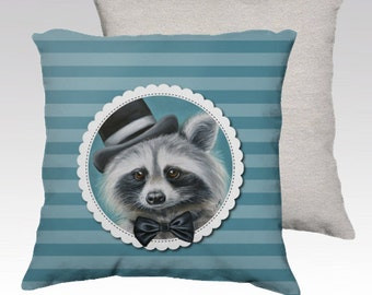 Racoon cushion cover -  mr. racoon pillow- animal art -kids pillow-children cushion-animal cushion - kids decor - racoon with tie