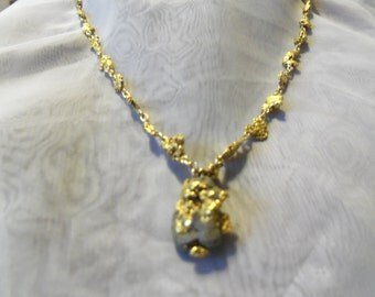 22kt Solid Gold Nugget   Graduated  Necklace  16in.