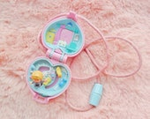 1993 Vintage Polly Pocket Pastel Baby And Ducky Locket Charm Pendant Necklace