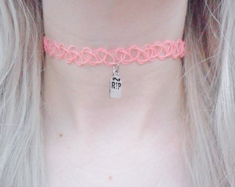 RIP Tombstone Halloween Grave Tomb Cemetery Pastel Pink Orange Tattoo Choker Pendant Silver Necklace Jewellery Jewelry