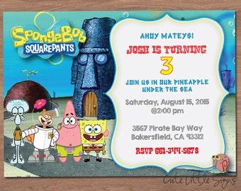 Spongebob Birthday Invitation Digital Download