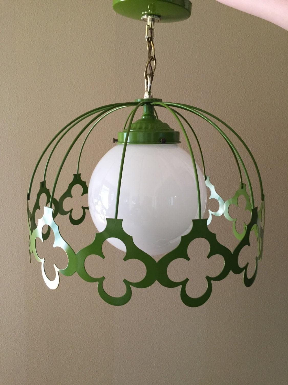 Vintage Green Light Fixture Mid Century Ceiling Light