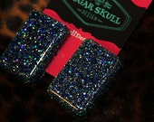 Dark Blue Sparkle Resin Post Earrings - Large Rectangle Shape