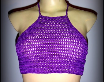 Purple crochet halter top