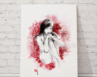 Pin up, art erotic, nudity, cherry blossom, painting pin up, bikini, hot pink, hot girl, love art, print 8x10