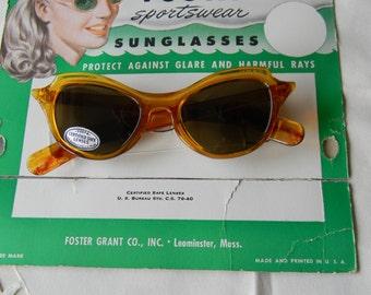 True vintage rare FOSTA sunglasses 1950's. Made in the USA.Mint. NOS.