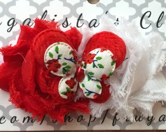 Beautiful Butterfly Infant/Children's Headband: Red & White Flowers w/a Butterfly accent on a White headband Infant, Toddler, Girl