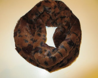 Faux Fur Infinity Scarf Brown and Black Print