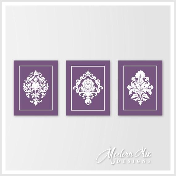 Purple bedroom decor damask decor purple wall art damask for Purple wall decor