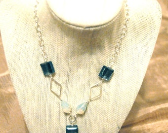 Handmade Crystal and Silver-Toned Necklace