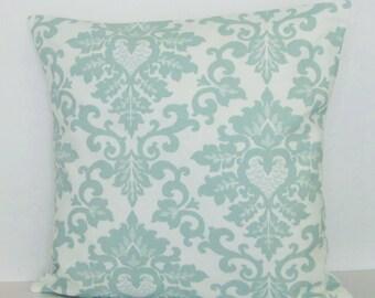 Seafoam Pillow Cover Decorative Throw Damask Accent Toss 16x16 18x18 20x20 22x22 12x16 12x18 12x20 14x22 Lumbar White Seaglass Zipper