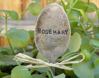 ROSEMARY spoon - herb garden marker - hand stamped yard art - flower pick - rustic spoon garden art - re-purposed flatware - gardener gift