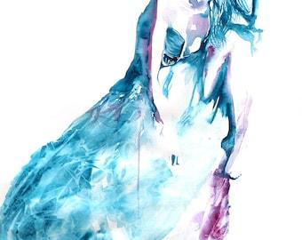 Original Watercolor Painting. Girl with beautiful dress. Boho wall art.