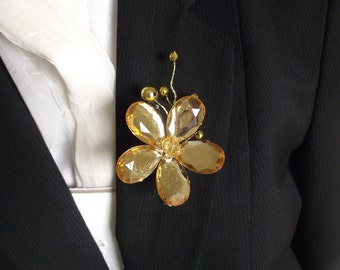 Gold Wedding boutonniere, gold prom boutonniere, gold groom boutonniere, groom flower, wedding corsage, gold wedding, buttonhole