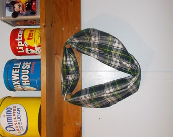 "Infinity Scarf. Flannel green and blue plaid.  Approx 5"" x 72"".  Great light weight scarf to add color  to your outfit."