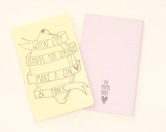 MOLESKINE notebook / journal. Hand Illustrated Journal / Notebook. Moleskine Cahier. Quote. Pale Yellow.
