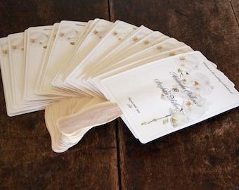 Fully Assembled Paddle Custom Wedding Program Fans on Shimmer Card Stock.