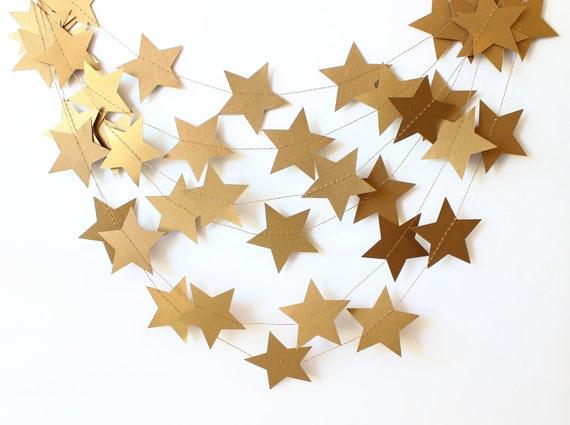 Christmas Garland, Star Garland, Gold Garland, Paper Garland, Rustic Wedding, Christmas Decor, Party Garland, Photo Prop