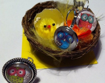 Earrings and adjustable ring owls set 2 pz