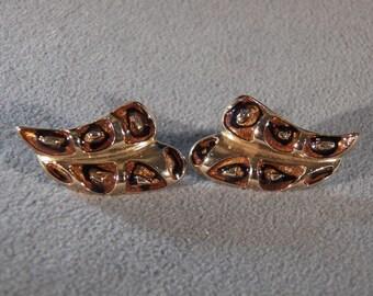 Vintage  Yellow Gold Tone Multi Enameled Pierced Large Stud Style Earrings, A Sleek Marvelous Design ~~    RL