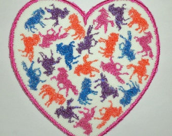 Iron-On Patch - HEART HORSES