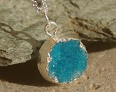 Positive Energy Turquoise Blue Druzy and Silver Necklace - Crystal, Druzy, Pink, Petite, Silver Necklace