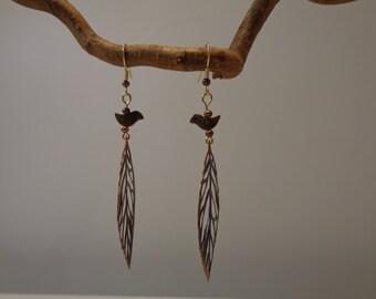 Mixed Metal Earrings, Modern Copper Earrings, Copper Leaf Earrings, Brass Bird Earrings, Woodland Earrings,  Surgical Steel Hooks Earrings