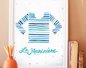 CLEARANCE. La Marinière - illustrated french striped sailing shirt, nautical, print poster with gold leaf flakes