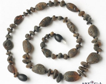 Raw Genuine BALTIC AMBER Healing NECKLACE for Women. Therapeutic! Untreated dark beads.