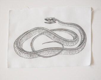Snake Skeleton -  Sew On Patch - Serpent Bones Viper Basilisk Fangs