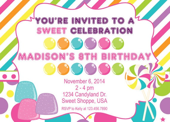Candyland, Sweet Shoppe  Birthday Invitation