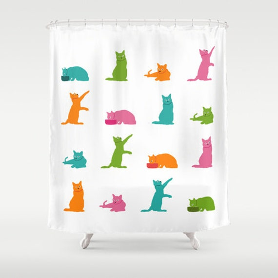Https Www Etsy Com Listing 152266779 Multicolor Cats Shower Curtain Cute