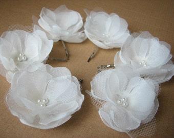Ivory hair flower Set of 6 ivory hair flower Ivory hair clips Bridal ivory flower Wedding hair clip Petite hair flower 2 inch hair flower