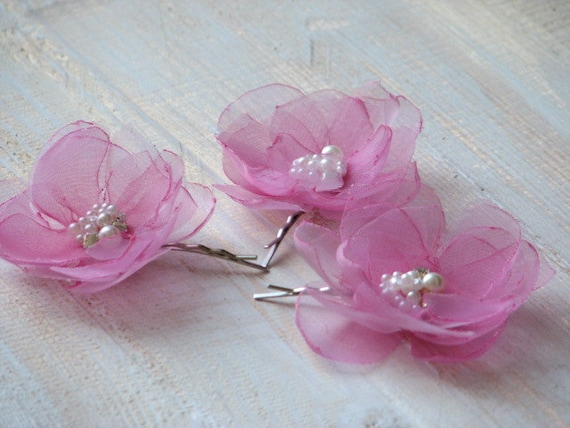Wedding Hair Flowers Pink : Pink hair flower organza flowers