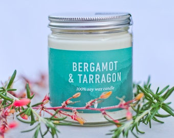 Bergamot & Tarragon- All Natural Soy Candle | Spa Candle | 8 oz