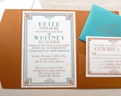 The Dogwood Suite - Letterpress Wedding Invitation Suite - Art Deco, Vintage, Formal, Turquiose, Teal, Copper, Orange, White, Bling, Pocket