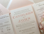 The Laurel Suite - Sample - Whimsical Modern Letterpress Wedding Invitation Suite, Pink, Blush, Gold, Unique, Bold Fonts,  Creative, Bling