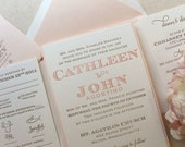 The Laurel Suite - Whimsical Modern Letterpress Wedding Invitation Suite, Pink, Blush, Gold, Unique, Bold Fonts,  Creative, Bling