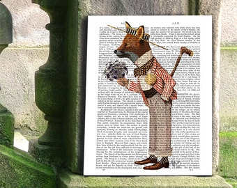 Fox in Boater - Fox Picture Fox Print Fox Art Romantic gift Valentines gift for her gift for lovers wall art wall decor fox portrait nursery