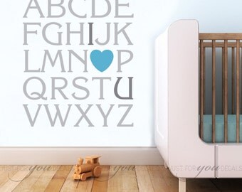 Alphabet Wall Decal - Nursery Wall Decal - Playroom Wall Decal - I Love You Wall Decal - Play Room Wall Decal, Love Decal - 01-0010
