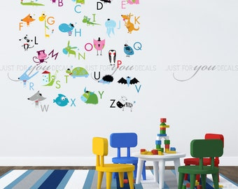 Alphabet Wall Decal, Playroom Wall Decal, Nursery Wall Decal, Alphabet Decal, Alphabet Nursery Art, Nursery Wall Art, Alphabet Art - 01-0032