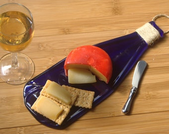 Melted Cobalt Blue Wine Bottle Cheese Tray - Serving dish made from slumped wine bottle