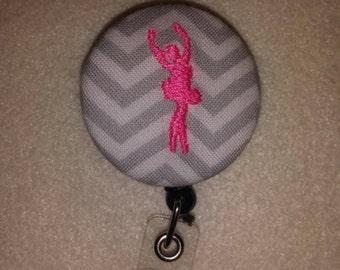 Ballerina dancer embroidered retractable badge holder reel