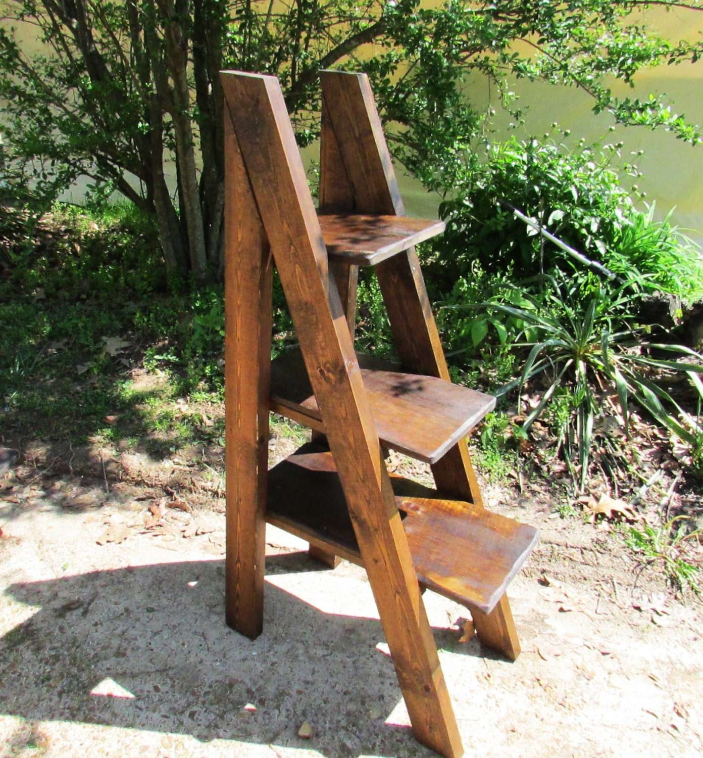 Rustic A Frame Ladder Type Wood Shelves Rustic By Serenevillage