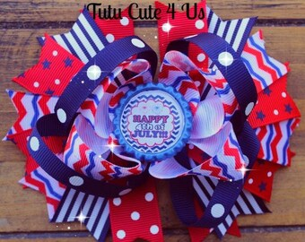 Happy 4th Of July Bottle Cap Hair Bow