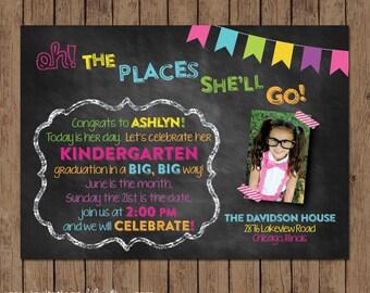 Chalkboard Graduation Invitation Open House PRINTABLE
