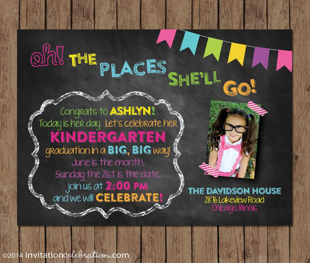 Dr Seuss Kindergarten Graduation Invitation Preschool